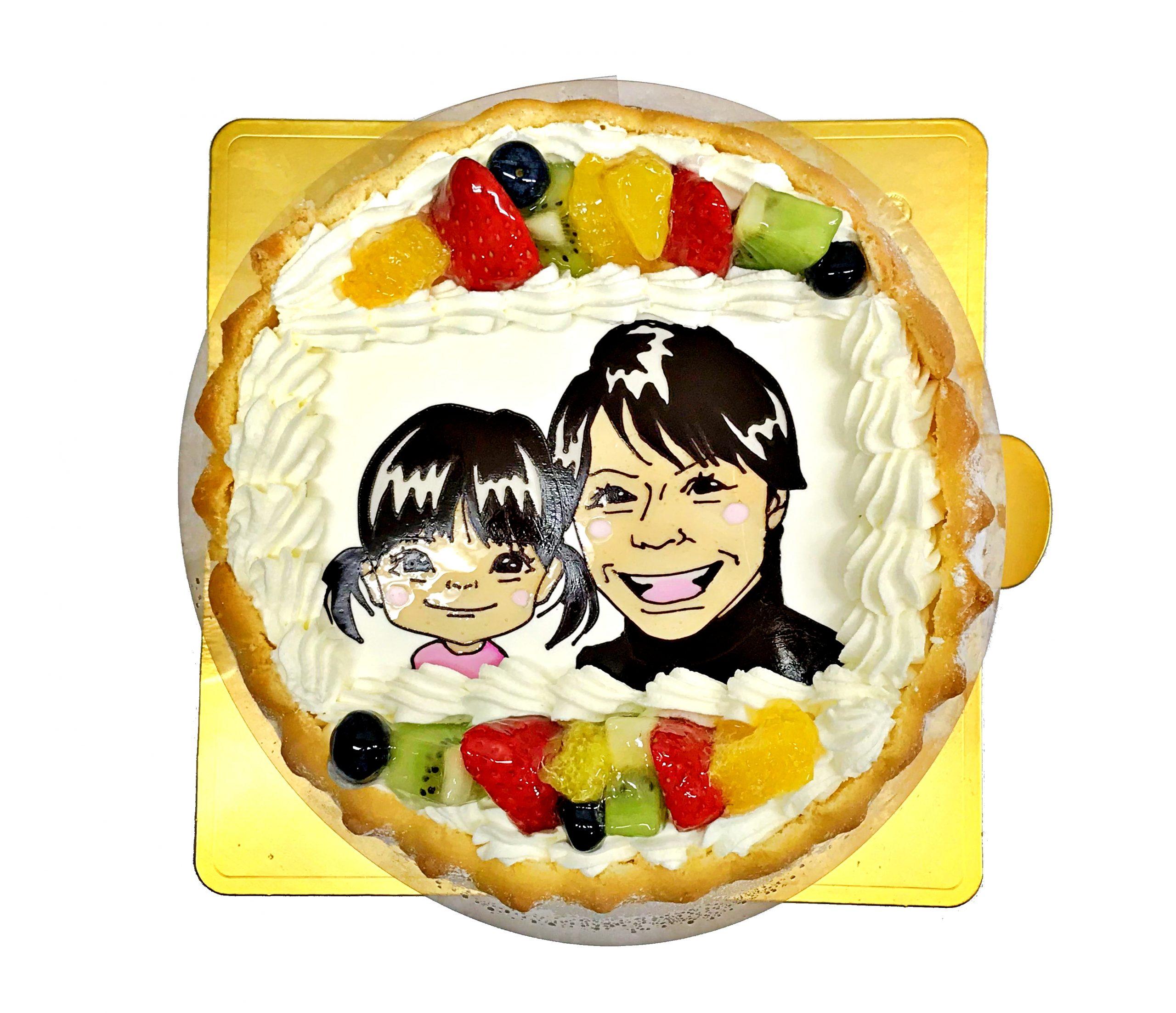 似顔絵ケーキ 子供とツーショット